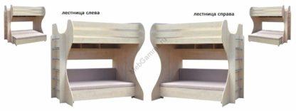 Детская двухъярусная кровать уголок детства с диваном Дачник