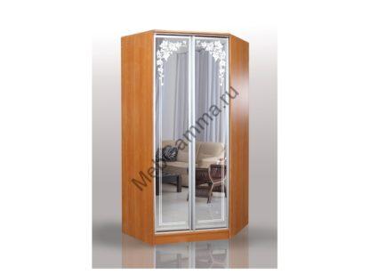 Распашной угловой шкаф Версаль зеркало пескоструйное